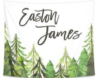 Woodland Trees Personalized Wall Tapestry | Nursery Wall Art | Watercolor Woodland Wall Art