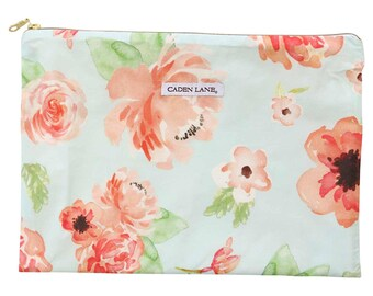 Colette's Coral Floral Zippered Wet Bag  | Mint, Coral, Floral, Flower Baby Girl Travel Bag | Mint & Peach | Diaper Storage Bag | Mess Bag