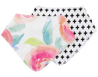 Bright Summer Blooms Baby Bibdana | Watercolor Floral Baby Gift | Floral Newborn Bib | Drool Bib | Teething Bib | Pink and Aqua