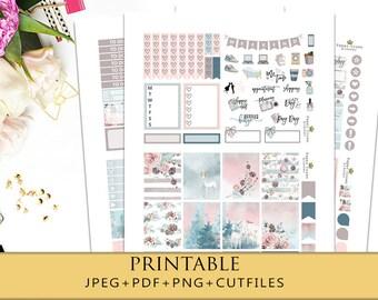 MAGICAL FOREST Printable Planner Stickers/Winter Weekly Planner Sticker Kit for Erin Condren Planner/Functional Sticker Kit