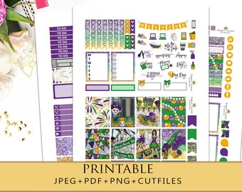 MARDI GRAS Printable Planner Stickers for Erin Condren Planner/Travelers Notebook/February Stickers/Weekly Kit/Glitter Headers/Carnival