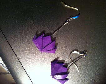 Purple lotus origami earrings
