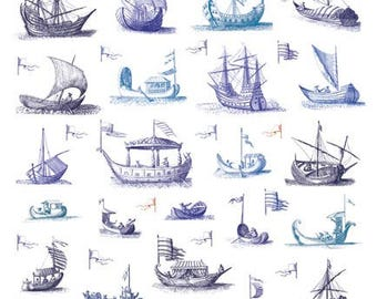 Giftwrap / Poster Print - 18th Century Engravings of Watercraft - 700 x 500mm