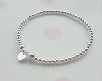 Sterling Silver Bead Bracelet, Silver Bead Bracelet, Bead Bracelet, Beaded Bracelet, Stacking Bracelet, Charm Bracelet, Children's Bracelet