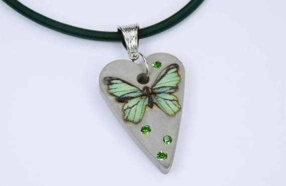 Necklace with butterfly in green with green rhinestones concrete jewelry unique concrete on the dark green Silk ribbon jewelry Valentine's Day