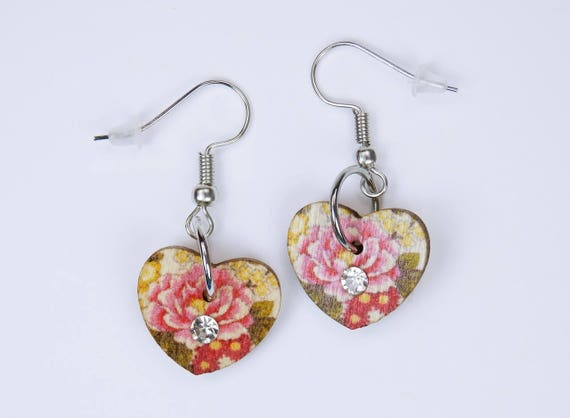 Earrings heart with pink flower water lily and clear rhinestone on silvery earrings wooden pendant earrings Mother's Day red flowers