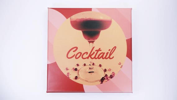 Picture drink-cocktail bar decoration in red pink-photography art print on canvas 20 x 20 cm print-wall decoration art Cocktail glass