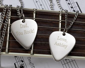 "Personalized Silver Guitar Pick Pendant With 24"" Chain"