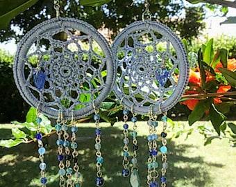 Dreamcatcher earrings, crochet, cotton, Bohemian crystal, agate, murrine