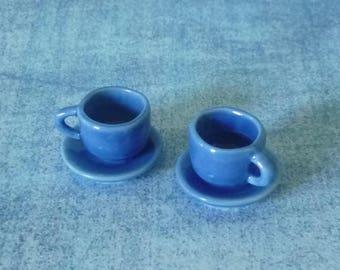 2 Blue tea cups Miniature tea cup /Tiny tea cup /ceramic /Miniature kitchen/ Dollhouse miniatures/ Fake kitchen