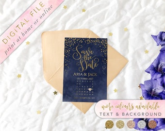 Printable Navy and Gold Save the Date, Navy and Glitter Save the Date, Navy and Gold Confetti Save the date, Save our Date, Custom