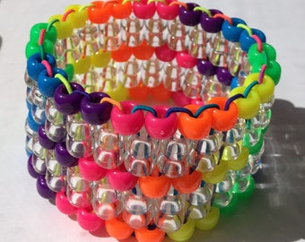 Rainbow Kandi Cuff Rave Bracelet