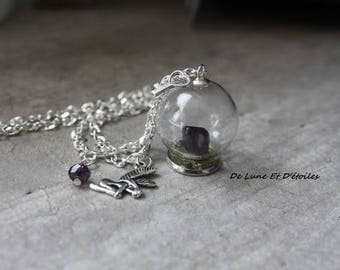 Amethyst fairy its glass globe necklace