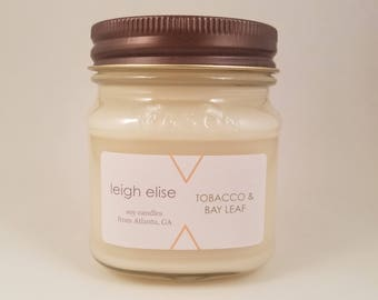Tobacco & Bay Leaf Hand Poured Soy Candle