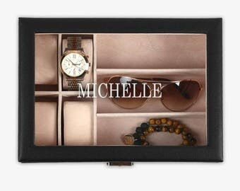 Personalized Accessories Case - Jewelry And Watch Case - Gifts for Him - Gifts for Her - Holiday Gifts - Xmas Gift - Custom Accessories Box