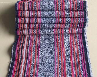 SALE!!Handwoven hemp, Hmong fabric,hemp indigo batik ,rare vintage hemp,textiles decorated embroidery ,Bed runner ,Table runner, DIY,ETC