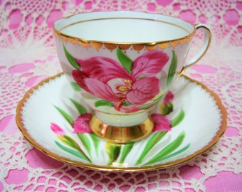 Lovely Vintage Tuscan Pink Iris Cup & Saucer, signed by M. Smith.