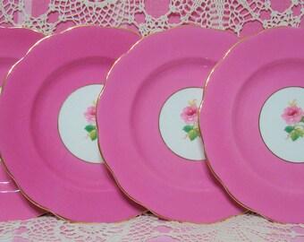 4 Beautiful Vintage ROYAL ALBERT Pink Roses Salad Plates.