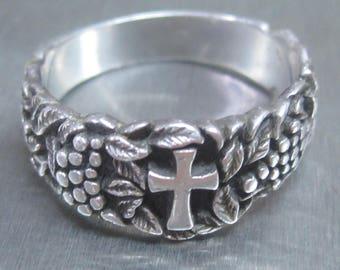 Sterling Silver Cross Ring SZ14