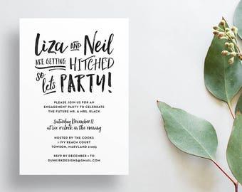 Modern Brush Lettering Engagement Party Invites / Semi-Custom Party Shower Invites / Rehearsal Dinner Invites / Printed Invitations