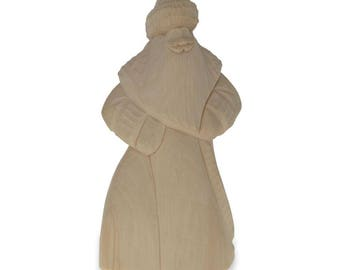 """8.7"""" Hand Carved Blank Unpainted Wooden Russian Santa Claus Figurine"""