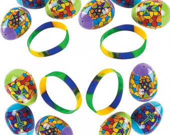 Set of 12 Bracelet Filled Stained Glass Pattern Religious Plastic Eggs