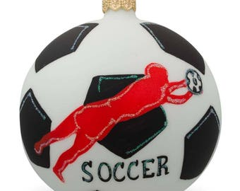 "4"" Soccer Player Glass Ball Christmas Sports Ornament"