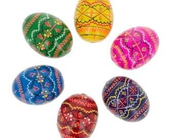 "1.5"" Set of 6 Miniature Ukrainian Wooden Easter Eggs"