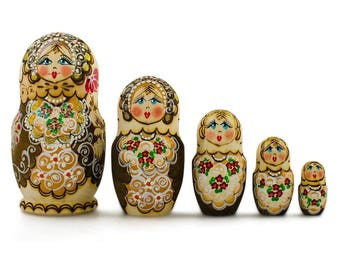 6'' Set of 5 Pyrography  Wooden Russian Nesting Dolls Matryoshka