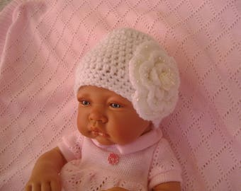 White christening baby bonnet, white flower and pearls ideal christening ceremony wedding parties birth gift, photos