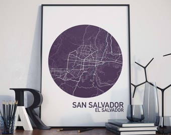 San Salvador, El Salvador City Map Print