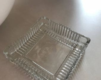 Vintage pressed glass four inch square cigarette tray