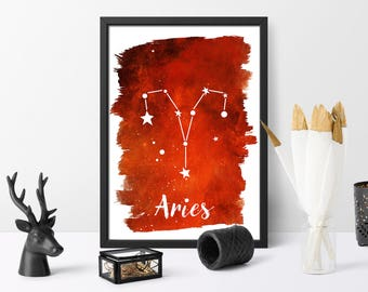 Watercolour, Aries, Zodiac print, personalised, astrology wall art, home decor, personalised gift, digital download, Printable,