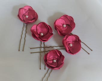 Set of deep cerise pink hair pins bridesmaid hair flowers wedding hair accessories prom hair festival hair more colours available