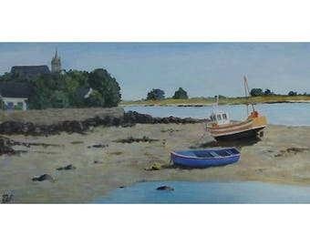 Low tide in Brittany, marine painting original acrylic painting, figurative art
