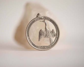 United States Coin Necklace in Silver Colour. Quarter, American Coin, 2014.