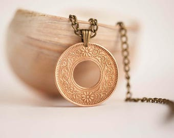 Japan Cut Coin Necklace. 1 Sen, 5-13th years of the Taishō Era (1916-1924).