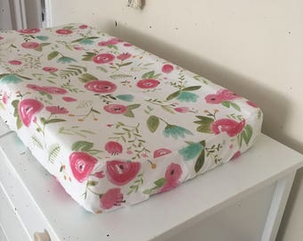 Rosebud Changing Pad cover, Floral changing pad cover, roses, spring baby, baby girl, changing pad cover, baby girl bedding, floral nursery