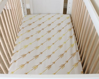 Golden Arrows in flight, gold arrows, baby girl bedding, tribal baby, gold crib bedding, gold crib sheet, gold baby, tribal princess, gold
