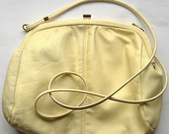1980S VINTAGE lemon yellow soft leather  bag