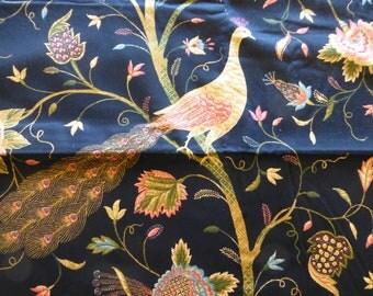 """Home Decor Floral fabric~Richloom~""""Mirth""""~black~54W x 2.38 yards"""