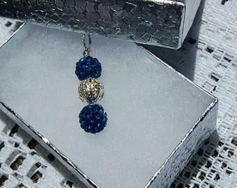 Handmade blue rhinestone pendant box included