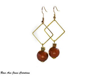 Sunstone and gold dangle earrings