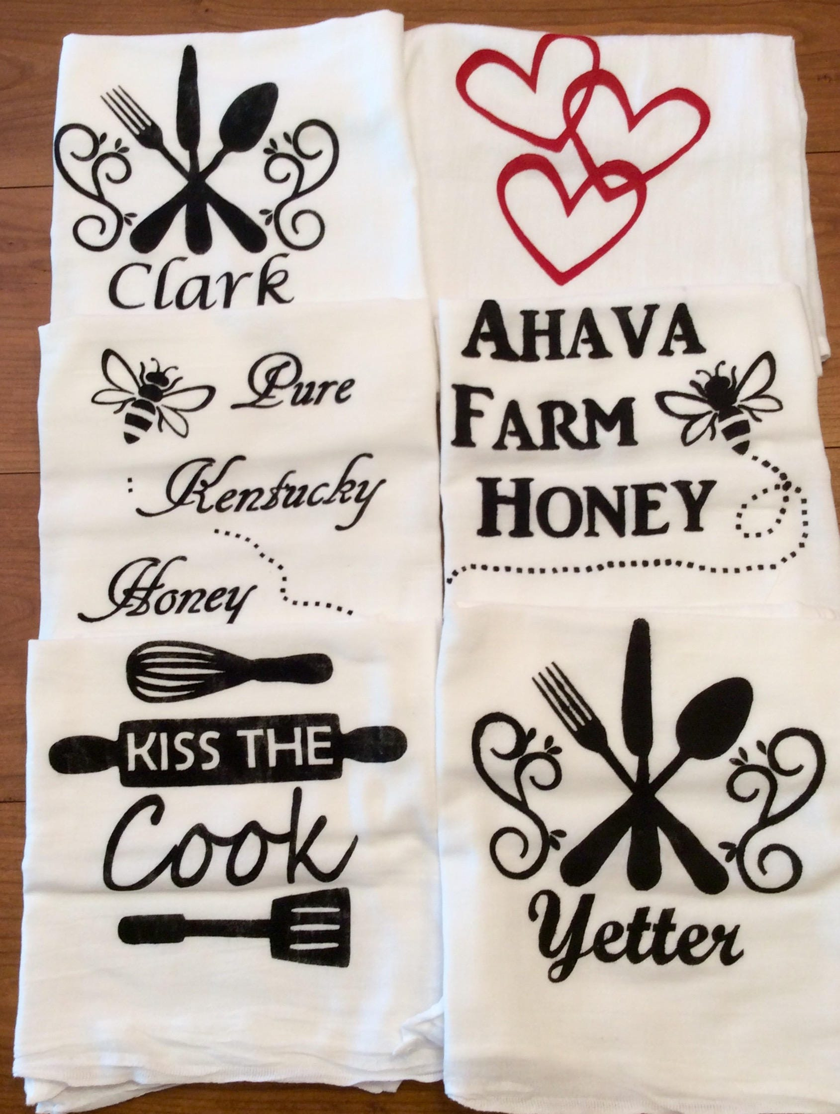 Custom Flour Sack Towels Set Of 3 | Painted Kitchen Tea Towels | Home Decor|