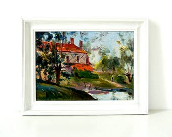 1940's Garden & Pink House - Original Oil Painting - Framed - Vintage Landscape Painting - House Painting