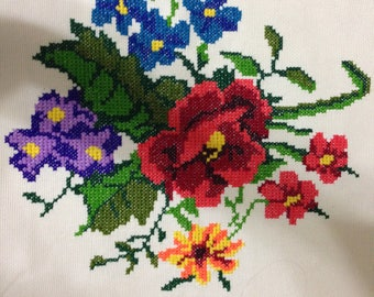 Hand Stitched Embroidered Tablecloth Large