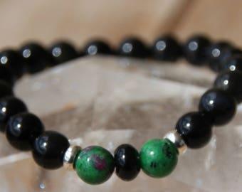 zoisite and Obsidian bracelet