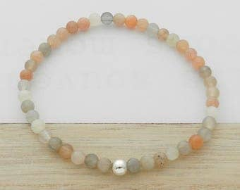 Natural Moonstone and silver ball bracelet
