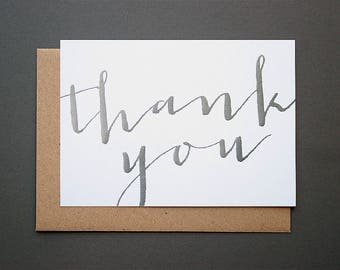 Silver Calligraphy Thank You Cards