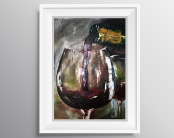 Just One Glass - Physical Print of Red Wine Glass Oil Painting (Multiple Sizes)